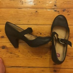 Black leather heal Mary Janes size 11